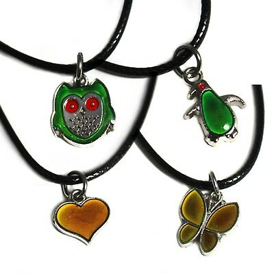 Colour-changing mood necklace with pendant. Heart/butterfly/penguin/owl