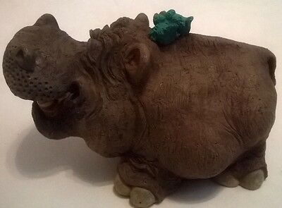Hippopotamus Figurine with Open Mouth 1997 Signed By Artist