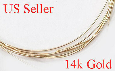 """Pure 14k Solid Yellow Gold Round wire gauge 26       1"""" , 2"""", 6"""", 12""""  US seller"""