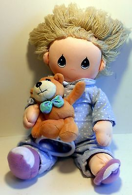 """Precious Moments 12"""" Musical Doll Baby in PJ's Teddy Bear Plays Twinkle Twinkle"""