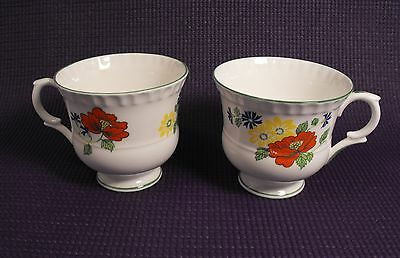Two (2)  Crown Staffordshire  English Garden   Footed Tea  Cups Fine Bone China