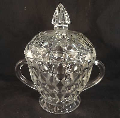 WINDSOR – JEANNETTE Clear LIDDED SUGAR BOWL HOLIDAY Footed with Handles RARE!!!