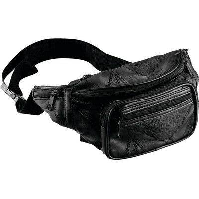 Black Genuine Leather Fanny Pack, Men or Womens Waist Travel Pouch Hip Belt Bag