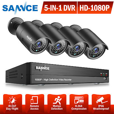 SANNCE 4CH 1080P 5in1 DVR Outdoor 2500TVL HD Video CCTV Security Camera System