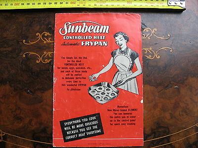 Vintage Sunbeam Frypan  11 page Recipe Booklet COVER COMING LOOSE