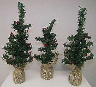 """NEW Artificial Christmas Green Tree Holiday 14"""" Tall Red Berries Winter Party"""
