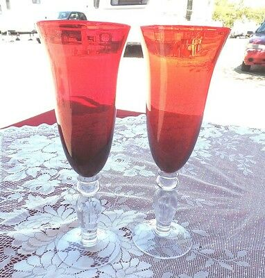TWO 9'' RUBY RED w/ CLEAR STEMS  CHAMPAGNE FLUTE GLASSES