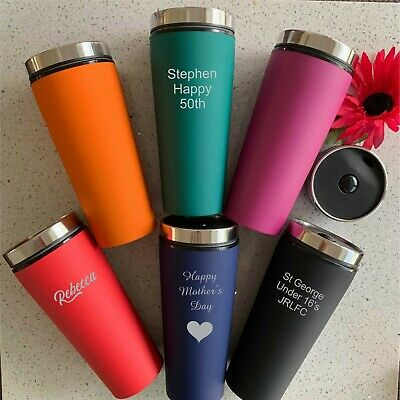 Custom Engraved Personalised Stainless Steel Travel Mug Thermal Flask Coffee Cup
