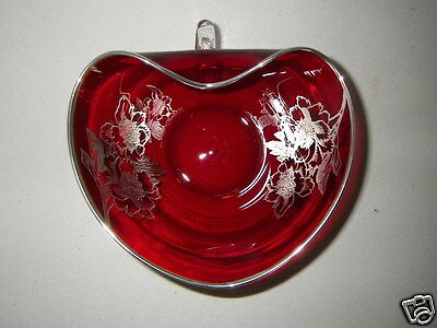 Cranberry Ruby Red Glass Heart Shape Bowl with Decorative Rose Floral Silver