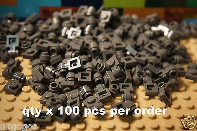 LEGO PART 4081b BLACK PLATE 1 X 1 WITH CLIP LIGHT THICK RING 25 PCS