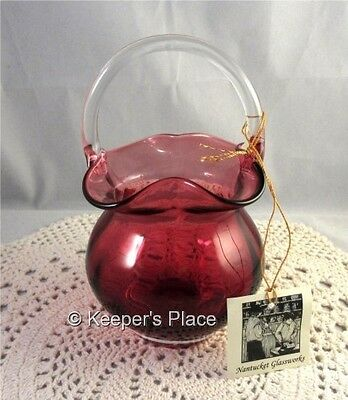 Nantucket Glassworks Cranberry Glass Clear Handle Ruffle Fluted Basket New Tag
