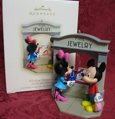 Hallmark 2008 Mickey And Minnie Mouse Ornament~Window Shopping