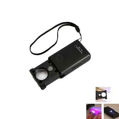 30X 60X BRIGHT LED LIGHTED LIGHT MAGNIFIER JEWELERS LOUPE LOOP GLASS POCKET CORD