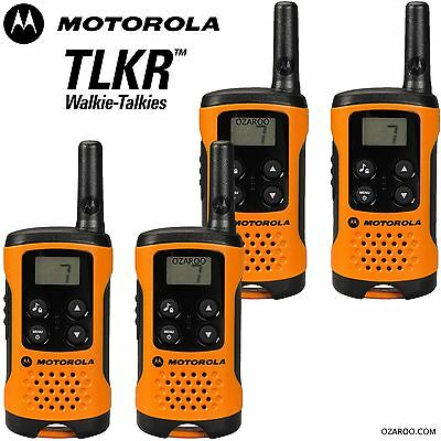 4 x Motorola TLKR T41 2 Way Walkie Talkie Set PMR 446 Radio Kit Orange Quad Pack