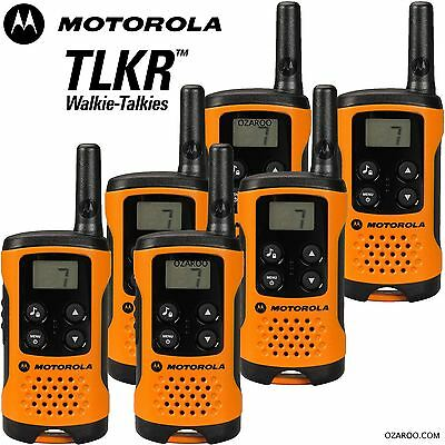 6 x Motorola TLKR T41 2 Way Walkie Talkie Set PMR 446 Radio Kit Orange Six Pack