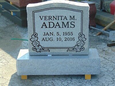 """CEMETERY HEADSTONE- gray- multiple engraving options 22 x 6 x 20"""""""