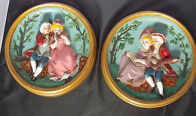 2 Vintage Chalkware Wall Art Plaster Plaque lot  Girl and Suitor Minstrel Music