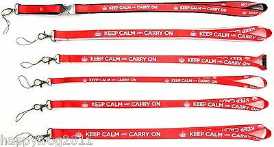 KEEP CALM and CARRY ON SATIN LANYARD NECK STRAP MOBILE ID CARD KEYS IPOD MP3 USB