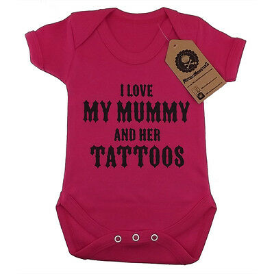 Metallimonsters My Mummys Tattoos vest pink alternative rock metal baby clothes