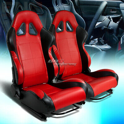Full Reclinable Left+Right Pair Black/red Pvc Leather Bucket Racing Seats+Rails