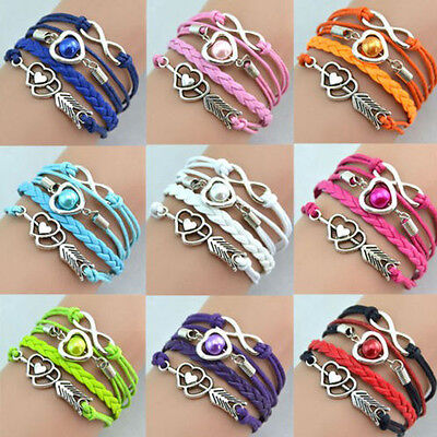 Pure fresh Infinity Love Heart Friendship Antique Silver Leather Charm  Bracelet