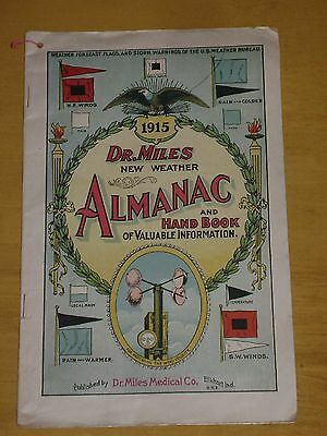 vtg Dr. Miles New Weather Almanac and Hand Book 1915 Elkhart Indiana Pain Pills