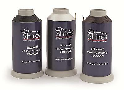 Shires Strong Waxed Plaiting Thread Cotton 411 Metres Long, Black, Brown, White,
