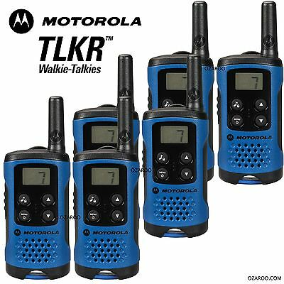 6 x Motorola TLKR T41 2 Way Walkie Talkie Set PMR 446 Radio Kit - Blue Six Pack