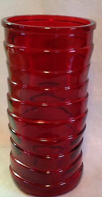 """VINTAGE RUBY RED HOOSIER GLASS VASE TOPSY TURVY BANDS 8 1/2"""" TALL"""