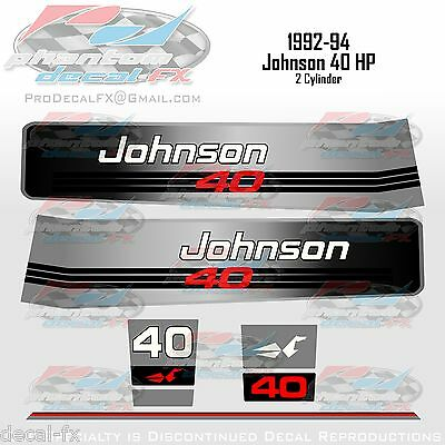 1992-94 Johnson 40HP Decals 2 Cylinder Outboard Reproduction 7Pc Vinyl Stickers