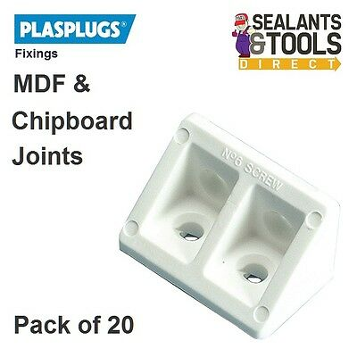 Plasplug White Rigid Corner Joint Fixing Modesty Blocks MDF Chipboard Cupboard