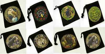 Tarot / Rune Stones / Crystals BAG / POUCH by LISA PARKER Wolf Raven Cat Green M