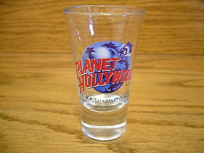 "Vintage Souvenir Planet Hollywood South Coast Plaza, Ca.  3 3/8"" Tall Shot Glass"