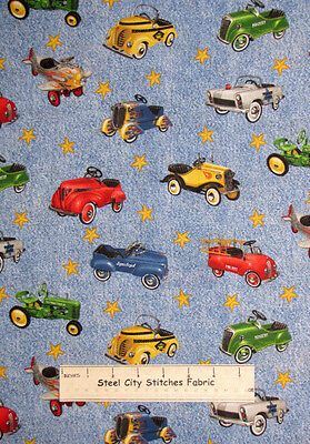 Pedal Cars Vintage Retro Racer Police Airplane Firetruck Toss Cotton Fabric YARD