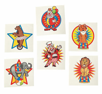 72 Circus TATTOOS Carnival Clowns Big Top Kid's temporary Birthday Party Favors