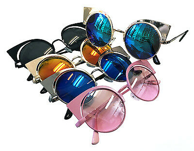 Wholesale Lots 12 Pairs Fashion OverSize Cat Eyes Sunglasses With Colorful Lens