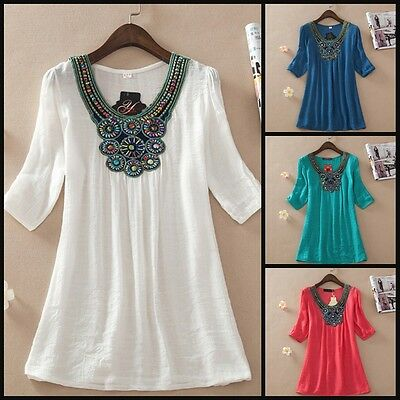 Embroidered Cotton Hippy Boho Beaded Tribal Beach Casual Coverup Light Blouse