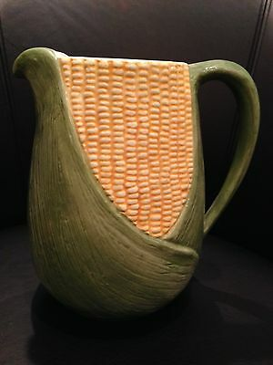 """Vintage 8"""" Hand Painted Corn Pitcher Elpa Made in Alcopaca Portugal REDUCED!"""