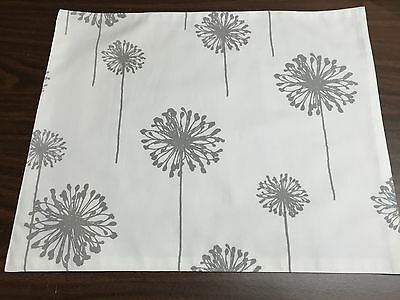 Beautiful Handmade 100% Cotton Placemat- Dandelion White/ Storm Twill design!