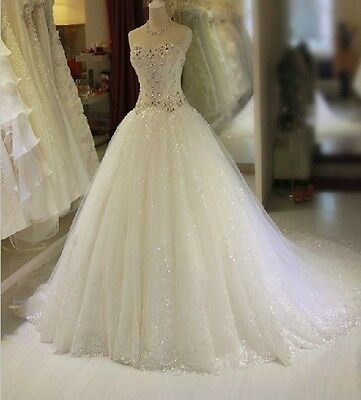 Custom-made Sweetheart White Wedding Dress Bridal Dress Bridal Gown with Crystal