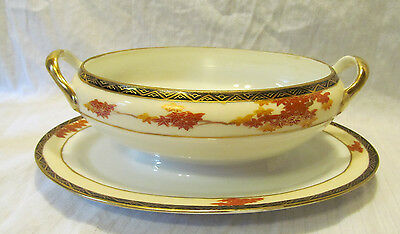 Kutani China Porcelain Handled Gravy Boat Under Plate Red Yellow Maple Leaves