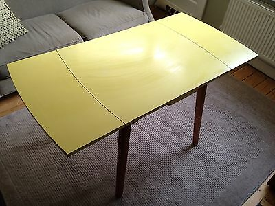 Vintage Yellow Formica Top Kitchen, Dining Table. Extending To 1.3m. Retro 1960s