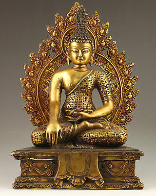 COLLECT OLD DECOR HANDWORK VINTAGE BRASS VIVID STATUE INDIA BUDDHA ENSHRINED