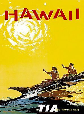 Hawaii Outrigger Hawaiian Vintage United States Travel Advertisement Art Poster