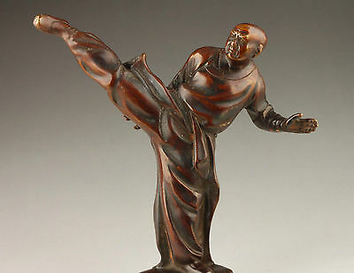 SUPERB VINTAGE COLLECTABLE OLD BRONZE STATUE CASTING SPIRITUAL KUNG FU MONKS