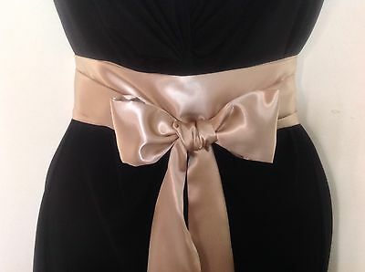 "2.5x100"" GOLD SATIN SASH BELT SELF TIE BOW FOR BRIDE WEDDING PARTY PROM DRESS"