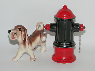 Vintage Collectible Dog & Fireplug Fire Hydrant Salt & Pepper Shakers          D