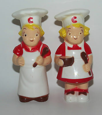 Vintage Collectible Plastc Campbell Kids Boy and Girl Salt & Pepper Shakers    D