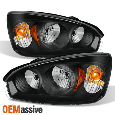 Fit 2004 2005 2006 2007 2008 Chevy Malibu Black Replacement Headlights Headlamps