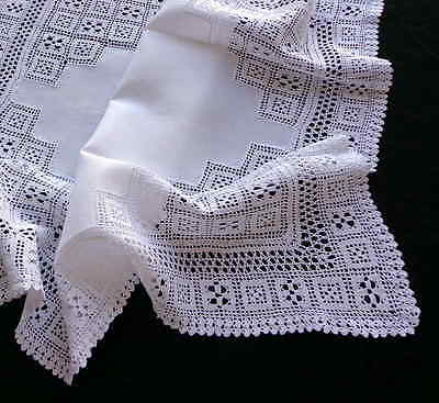 Small Antique White Linen Tablecloth Centerpiece with Lavish Handmade Lace   27""